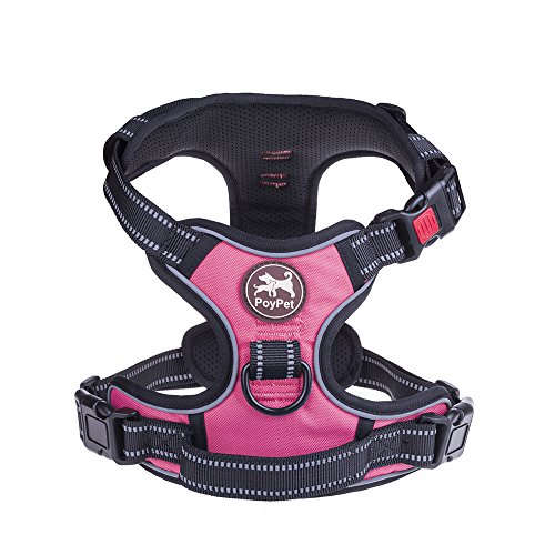 PoyPet No Pull Dog Harness, No Choke Front Lead Dog Reflective Harness, Adjustable Soft Padded Pet Vest with Easy Control Handle for Small to Large Dogs(Pink, Medium) ()