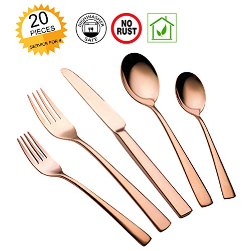 Silverware Set Rose Gold, 20 Pieces Flatware Stainless Steel Cutlery Utensils Dinnerware Kitchen with Forks Spoons Knifes Mirror Polished Dishwasher Safe Gift Box Service for 4