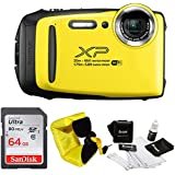 FujiFilm FinePix XP130 Rugged Waterproof WiFi Digital Camera (Yellow) + Focus Floating Strap & SanDisk 64GB Card Bundle