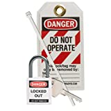 Brady 123149 Nylon ''Danger Do Not Operate'' Compact Safety Padlock Kit, White