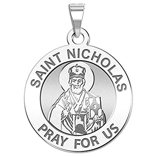 PicturesOnGold.com Saint Nicholas Religious Medal - 3/4 Inch Size of a Nickel -Sterling Silver (Medal Nicholas Saint)