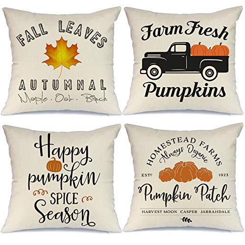 AENEY Fall Pillow Covers 18x18 inch Set of 4 Truck Pumpkin Patch Leaves Throw Pillows for Fall Thanksgiving Decor Farmhouse Fall Decorations Decorative Pillows