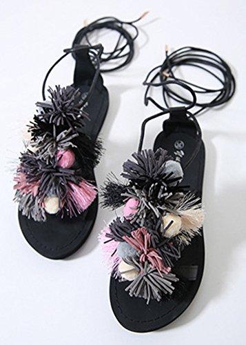 Lacets Frange Femme Aisun Sandales Noir Confort tS7ffqwP