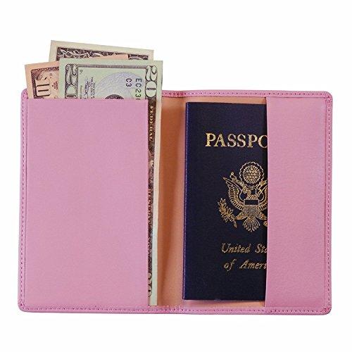 Royce Leather Plain Passport Jacket (Carnation - Wallets Pink Travel Carnation