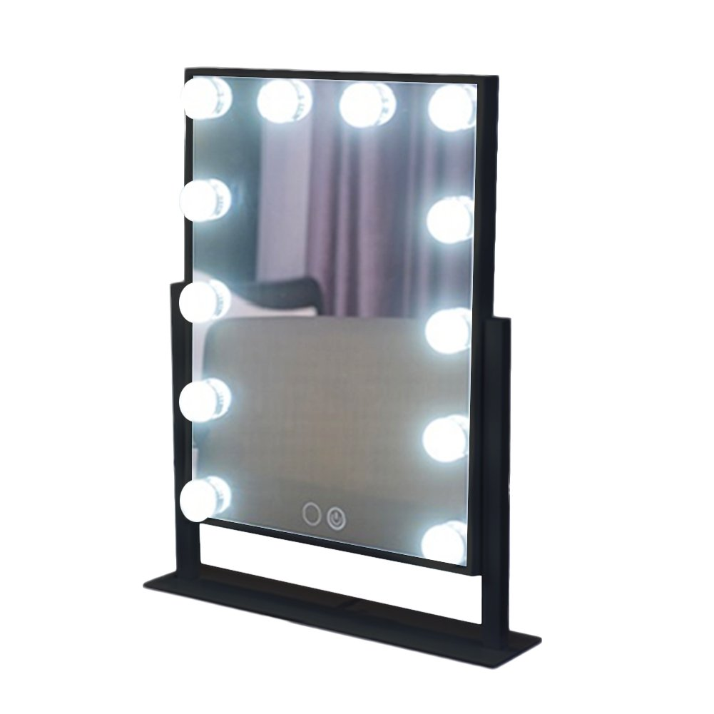 TrendSpotter Lighted Makeup Vanity Mirror Hollywood Style for Tabletop with LEDs & Dimmer USB Powered Black