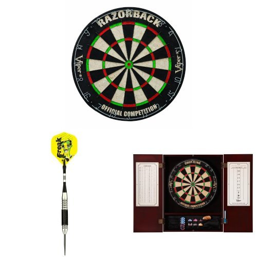 Viper Razorback Bristle Dart Board with Steel Tip Darts and Cabinet Bundle