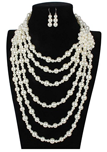 Shineland Multilayer Strand Simulated Faux Pearl Statement Long Sweater Chain Necklace and Earrings Set (Style # - Pearl Necklace China