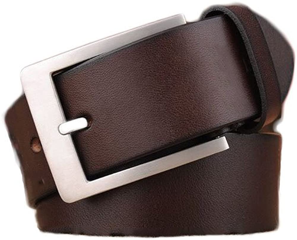 OLHkqhhehbre Leather Belt,Mens The First Layer of Leather Belt Pin Buckle Youth Leisure