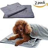 SCENEREAL Microfiber Dog Absorbent Bath Towels 2 Pcs/Set Grooming House Bathroom Quick Drying Towel Best for Small to Large Dogs Cats Pets Size 24'' x 32'' and 32'' x 39''