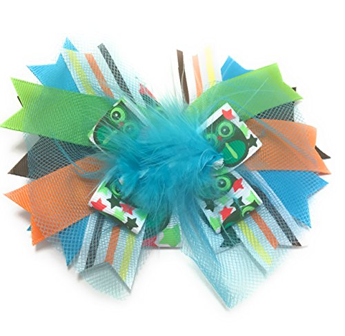 Chicky Chicky Bling Bling Girls Marabou Puff Couture Hair Bow owl print ()