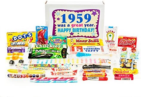 Amazon Woodstock Candy 1959 60th Birthday Gift Box Of Retro Nostalgic Mix From Childhood For 60 Year Old Man Or Woman Born Jr Gourmet