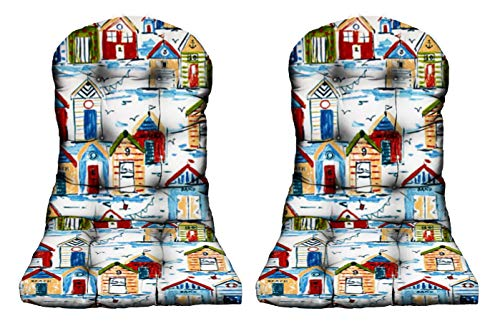 RSH Décor Indoor/Outdoor Decorative Pillow and Cushion Sets ~ Ocean, Lake, Summer Sunshine, Coastal Tropical Beaches ~ 2 - Adirondack Cushions Green, Yellow & Blue Bay Boathouse/Cabana Fabric