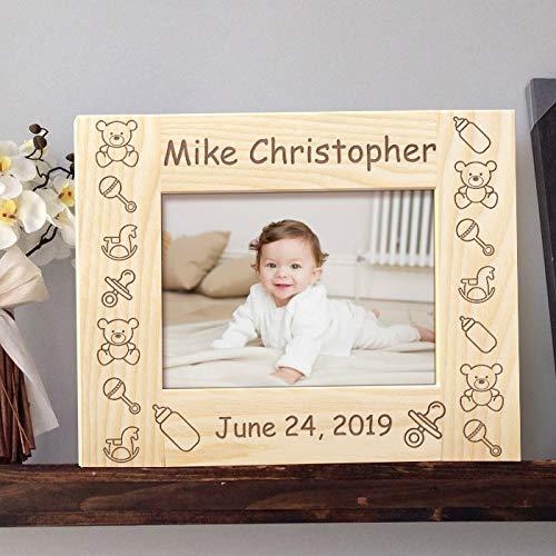 [해외]아기의 이름과 생년월일 개인화 된 나무 액자 4 인치 × 6 인치 라이트 브라운 (가로) / Baby`s Name and Birthdate Personalized Wooden Picture Frame 4 x 6 Light Brown (Horizontal)