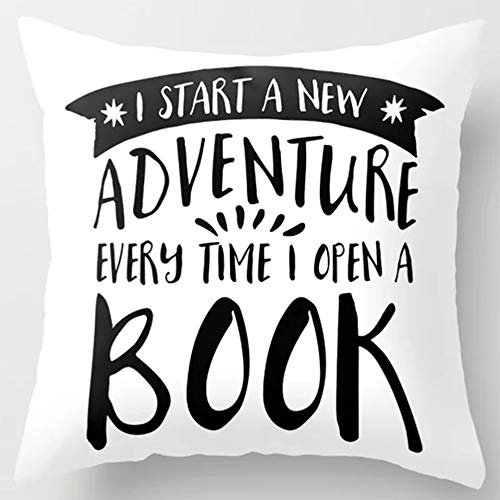 HomeTow Pillowcases I Start a New Adventure Every Time I Open a Book!Pillowcovers 18x18inch Removable Two Side Invisible Zipper Color:Books
