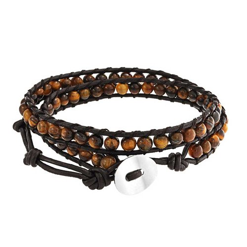 Bling Jewelry Tiger Eye Adjustable Brown Leather Wrap Bracelet 23in -
