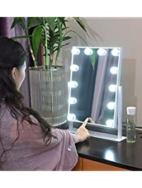 Lighted vanity mirrors amazon large makeup mirror touch screen with 12 big led bulbs lighted adjustable brightness white mozeypictures Images