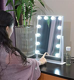 Lovely Large Makeup Mirror Touch Screen With 12 Big LED Bulbs Lighted Mirrors  Adjustbale Brightness (White