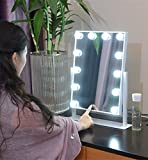 Large Makeup Mirror Touch Screen with 12 Big LED Bulbs Lighted Adjustable Brightness (White)