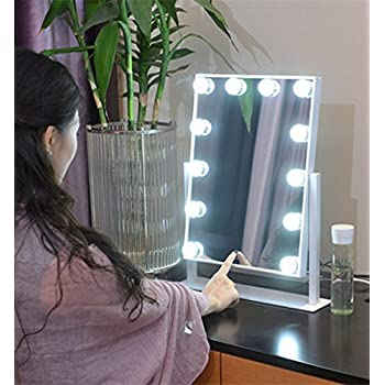 Large Makeup Mirror Touch Screen with 12 Big LED Bulbs Lighted Adjustable  Brightness  White. Amazon com  Wildgirl Vanity Lighted Hollywood Makeup Mirror with