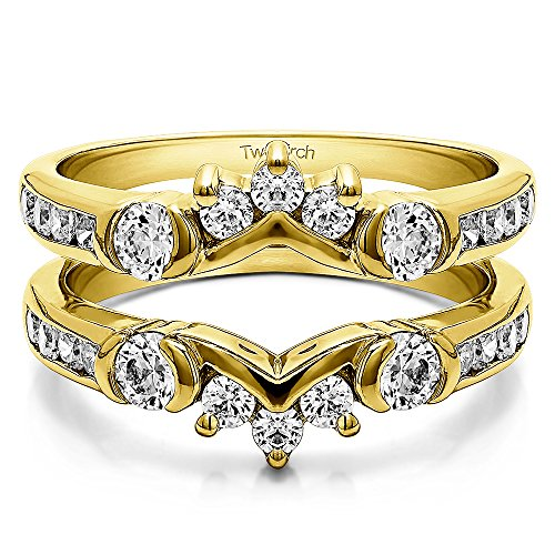 Half Halo Classic Style Ring Guard with 1 cts of Diamonds in 10k Yellow gold (Ring Diamond Princess Cut Guard)