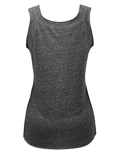 Regna X Womens Sleeveless Basic Solid Long v Neck Triblend Tank Tops Black M by Regna X (Image #3)