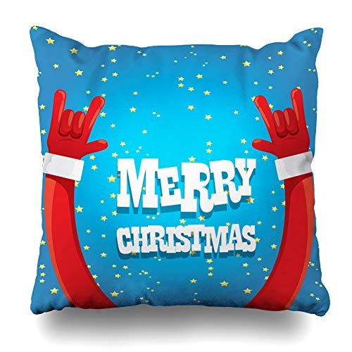 Ahawoso Throw Pillow Cover Red Band Santa Claus Hand Rock Roll Party Christmas Concert Holidays Button Creative Fingers Design Zippered Pillowcase Square Size 18 x 18 Inches Home Decor Cushion Case]()