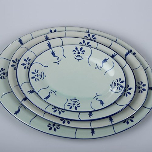 LHJY Blue And White Porcelain Plates Ceramic Fish Plates Celadon Retro Antique Tableware Thickening Is Not Easy To Wear 12 Inch