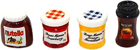 4pcs 1:12 Dollhouse Miniature Jam Coffee Food Doll House Kitchen Furniture