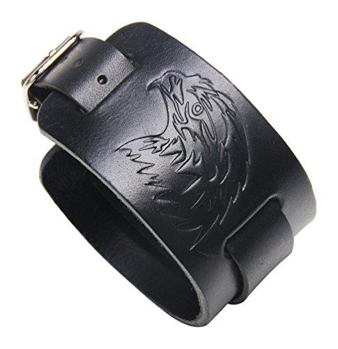 - Fusamk Hip Hop Alloy Eagle Adjustable Leather Bracelet Bangle,7.0-8.0inches