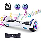 """SWEETBUY Hoverboard UL 2272 Certified 6.5"""" Two-Wheel Bluetooth Self Balancing Electric Scooter with LED Light Flash Lights Wheels White(Free Carry Bag)"""