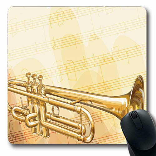 Ahawoso Mousepads for Computers Blowing Silver Music Brass Trumpet On Musical Equipment Jazz Armstrong Bugle Classical Design Oblong Shape 7.9 x 9.5 Inches Non-Slip Oblong Gaming Mouse Pad