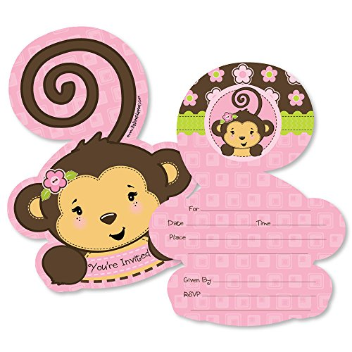 Pink Monkey Girl - Shaped Fill-in Invitations - Baby Shower or Birthday Party Invitation Cards with Envelopes - Set of 12