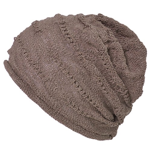 Casualbox Mens Cotton Beanie Hat Light Weight Cooling Summer Unisex Brown 0d2403e83d3f