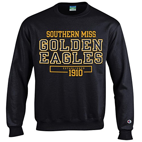 Champion NCAA Men's Long Sleeve Eco Powerblend Sweatshirt Unisex Officially Licensed Crewneck Fleece Southern Mississippi Golden Eagles X-Large ()