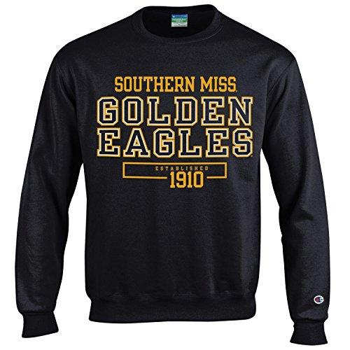 (Champion NCAA Men's Long Sleeve Eco Powerblend Sweatshirt Unisex Officially Licensed Crewneck Fleece Southern Mississippi Golden Eagles Medium)