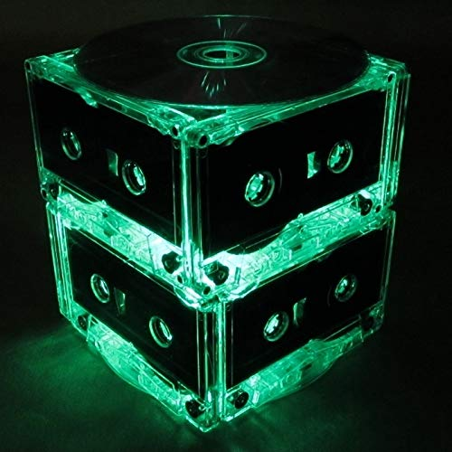 Standard Two Tier Green Cassette Tape Party Light, Night Light, Wedding Table Centerpiece with 50 Bright Battery Operated LED Lights