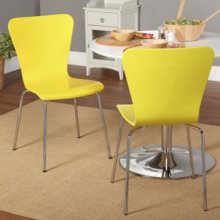 Simple Living Retro Hourglass Shape Curves Pisa Bentwood Fashionable Contemporary Modern Stackable Chrome-plated Tube Metal Leg Chair (2, Yellow)