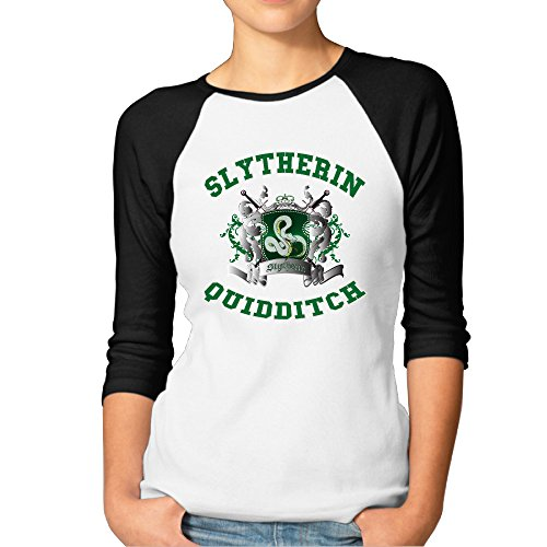 [BMW47' Women's Harry Potter-Slytherin Quidditch 3/4 Sleeve Raglan Tee T Shirt - Large] (Hermione Granger Costume Casual)