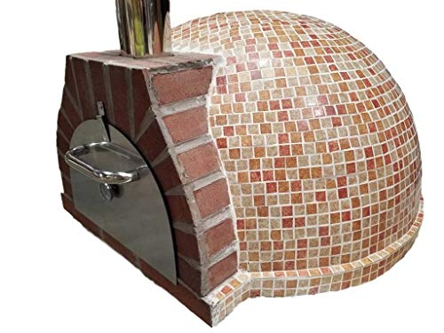 Western Pacific Pizza Oven Outdoor Red Orange Tan Mosaic Tile, Wood Coal Fired BBQ Grill Roast, Stone Brick Clay Cement - Red Pizza Brick