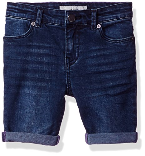 Calvin Klein Little Girls' Bermuda Denim Short, Dusted Ink, 6X Girls Denim Bermuda Shorts