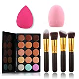 Pure Vie Pro 4 Pcs Make Up Brushes + 1 Sponge Puff + 1 Brush Egg + 15 Colors Cream Concealer Camouflage Makeup Palette Contouring Kit for Salon and Daily Use
