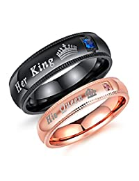 Romantic Stainless Steel Men's Women's Her King His Queen Couple Ring Crown Cubic Zirconia Promise Engagement Wedding Band, Black/Rose Gold