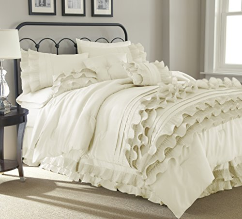 (Amrapur Overseas Diana 8-Piece Embellished Comforter Set, Queen, Pearl White)