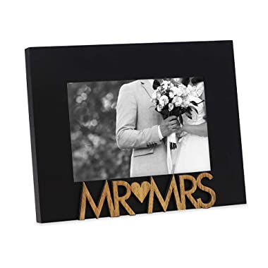 "Isaac Jacobs Black Wood Sentiments ""Mr & Mrs"" Picture Frame, 4x6 inch, Newlywed Photo Gift for Wedding, Display on Tabletop, Desk (Black)"