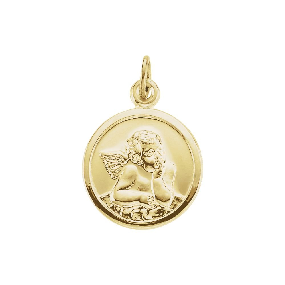 14k Yellow Gold 14.25 mm Guardian Angel Medal