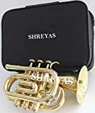 Pocket Trumpet Brass Finish Awesome Sounds Quality Bb W/Case+Mp Gold SHRY031