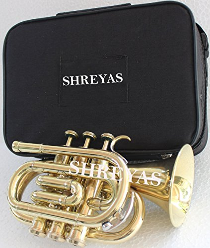 Pocket Trumpet Brass Finish Awesome Sounds Quality Bb W/Case+Mp Gold SHRY031 by SHREYAS