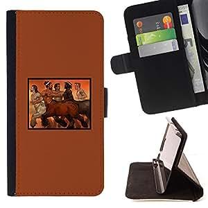 BullDog Case - FOR/Sony Xperia M2 / - / centaur horse man naked nude hot mythology /- Monedero de cuero de la PU Llevar cubierta de la caja con el ID Credit Card Slots Flip funda de cuer