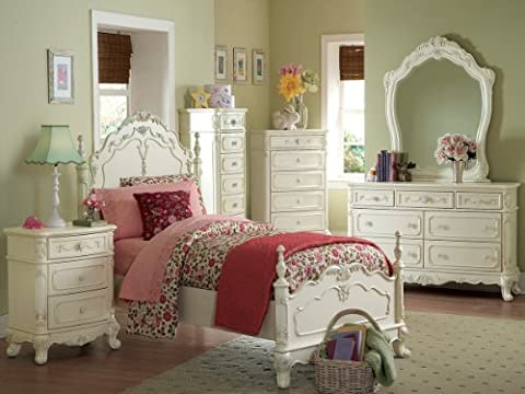 Cinderella 4 PC Queen Bedroom Set by Home Elegance in Off-White/Cream