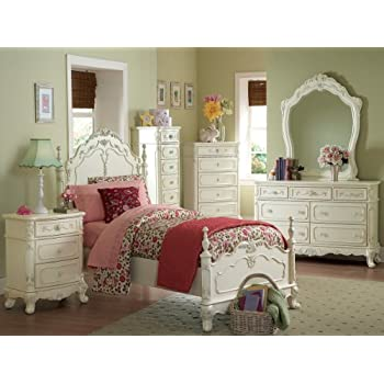Cinderella 4 PC Twin Bedroom Set by Home Elegance in Off White Cream Amazon com